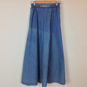 Vintage City Girl Denim Maxi Skirt Womens 10